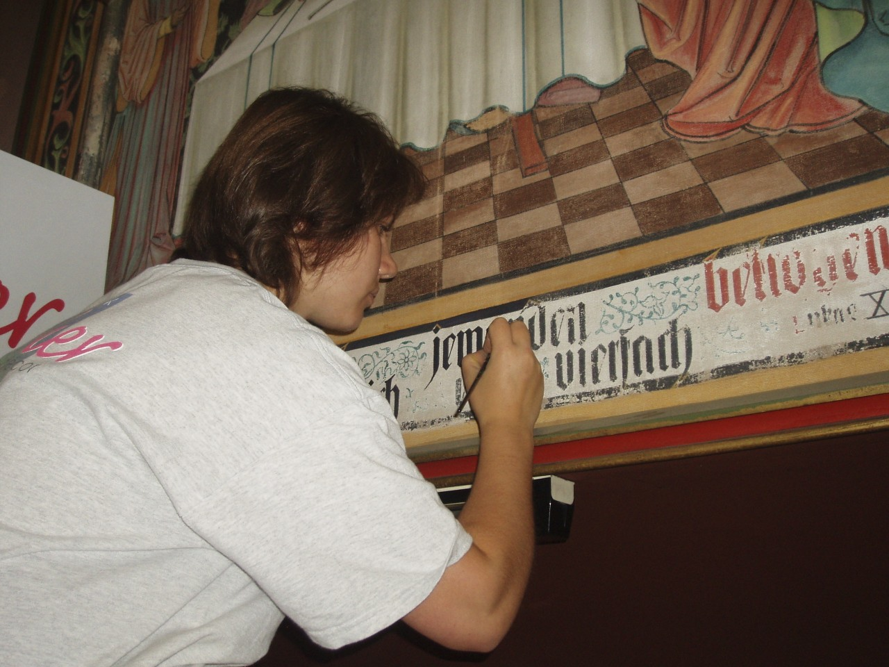 Lettering restoration in progress