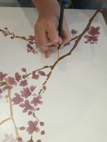 filling in cherry blossom stencil