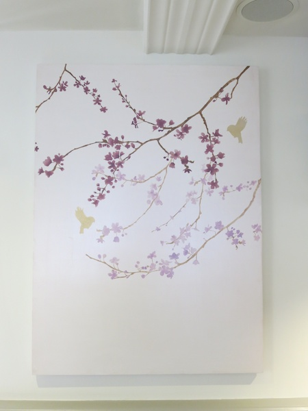 cherry blossom stencil finished