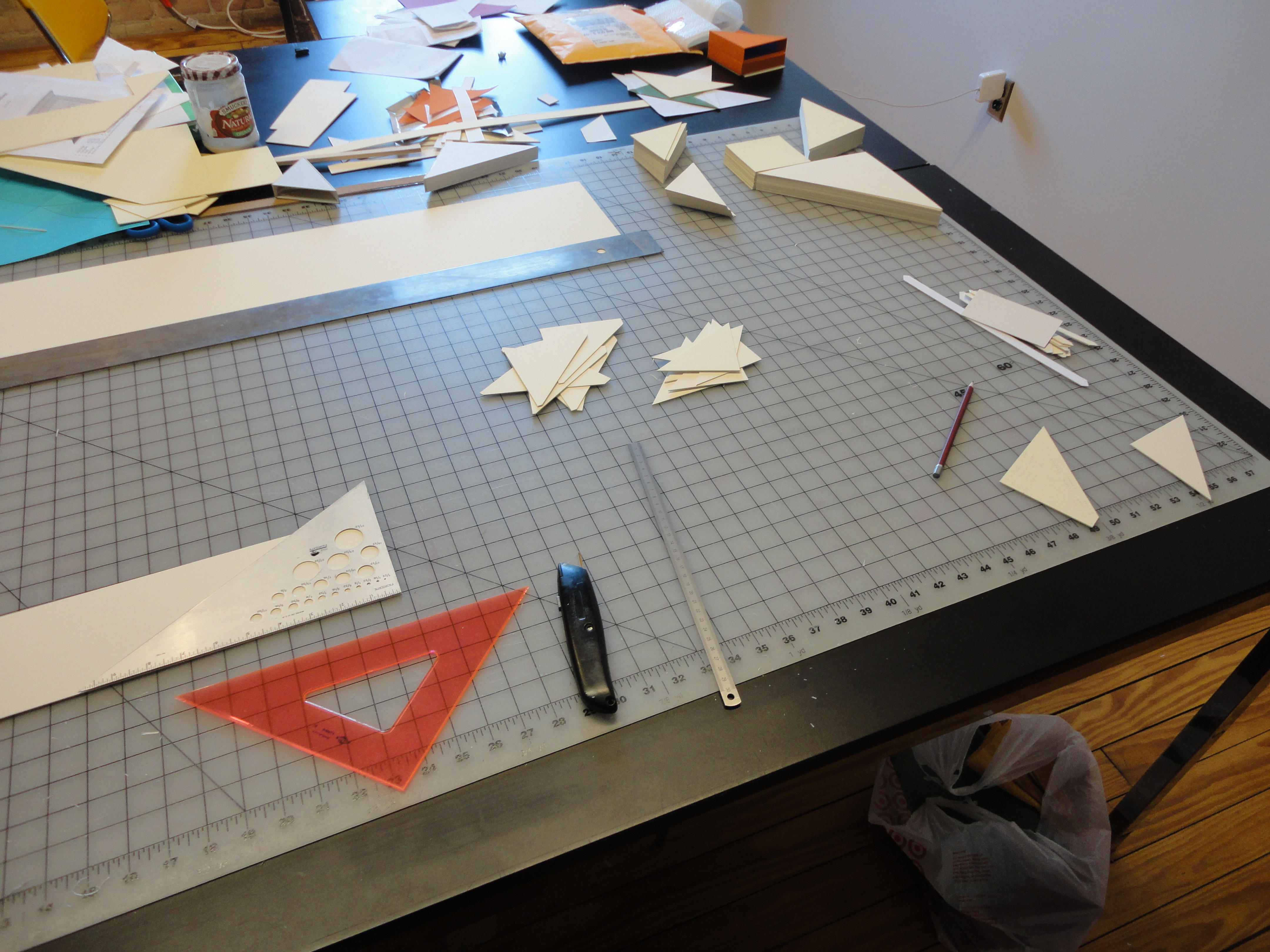 Cutting out elements for the slipcase construction.