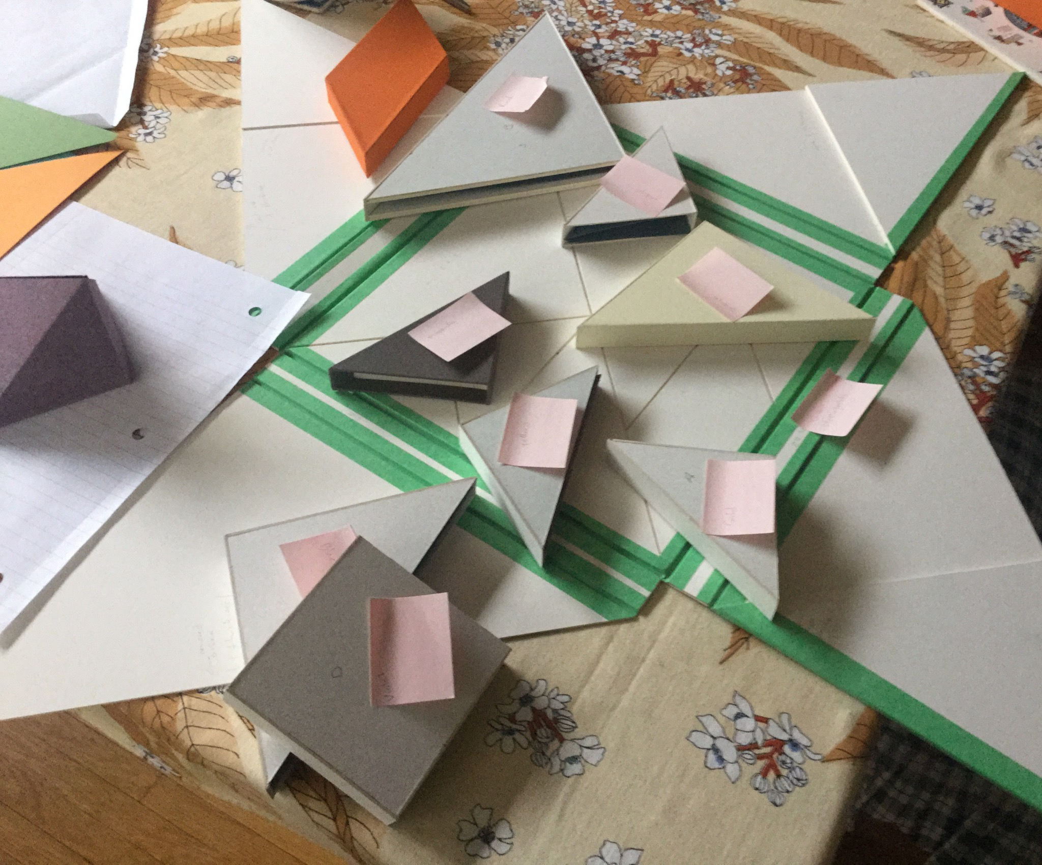 Initial prototypes of various book structures.